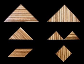 tangram - 7 pièces - zebrano